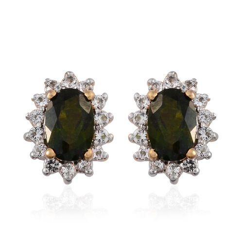 Russian Diopside (Ovl), White Topaz Stud Earrings (with Push Back) in 14K Gold Overlay Sterling Silver 1.250 Ct.