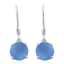 Namibian Blue Chalcedony 1.75 Ct Silver Hook Earrings in Platinum Overlay