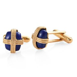 Lapis Lazuli (Cush) Cufflinks in 14K Gold Overlay Sterling Silver 11.250 Ct. Silver wt 7.92 Gms.