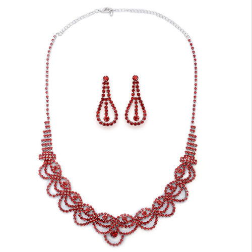 Red Austrian Crystal and Simulated Ruby Necklace (Size 20) and Earrings (with Push Back) in Silver Tone