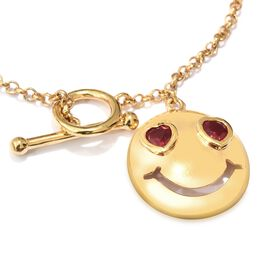 African Ruby Smiling Face with Heart Eyes Smiley Bracelet in Gold Plated Silver 0.75 Ct (7.5 Inch) 6.26 Gms.