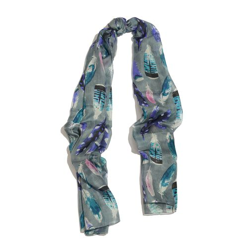 100% Mulberry Silk Multi Colour Feather Pattern Dark Grey Colour Scarf (Size 180x100 Cm)
