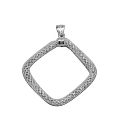 Vicenza Collection Sterling Silver Square Mesh Pendant, Silver wt 3.26 Gms.