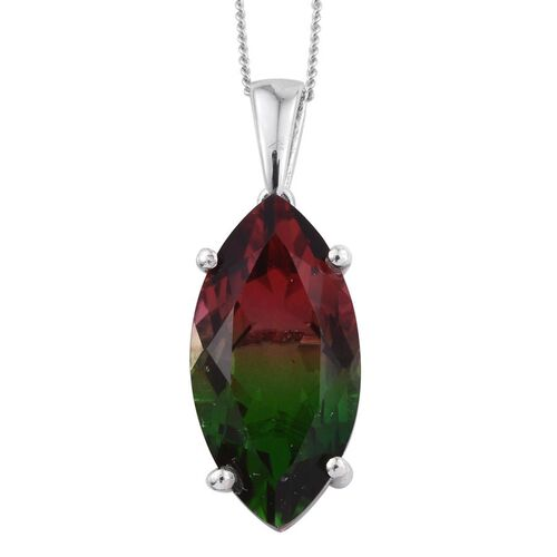 Tourmaline Colour Quartz (Mrq) Solitaire Pendant With Chain in Platinum Overlay Sterling Silver 8.750 Ct.