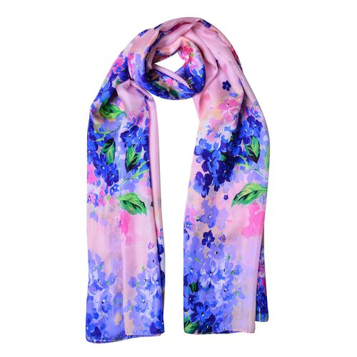 100% Mulberry Silk Pink, Blue and Multi Colour Floral Pattern Scarf (Size 180X110 Cm)