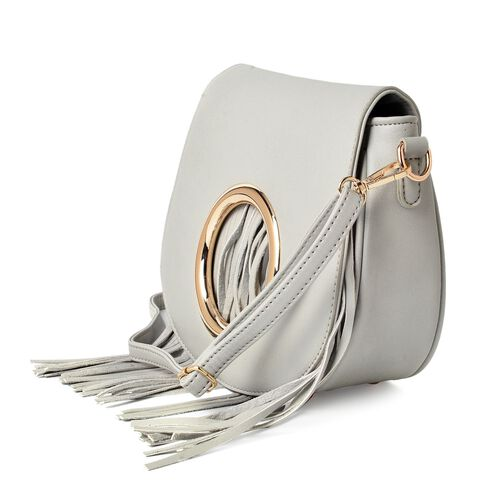 Light Grey Colour Crossbody Bag with Tassels and Adjustable and Removable Shoulder Strap (Size 21.5x19x7 Cm)