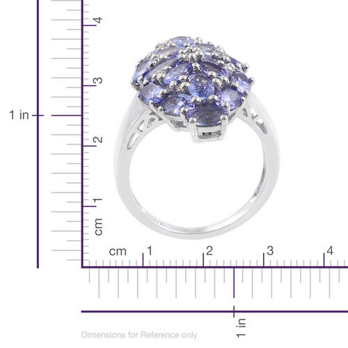Tanzanite (Ovl), Natural Cambodian Zircon Cluster Ring in Platinum Overlay Sterling Silver 4.750 Ct.