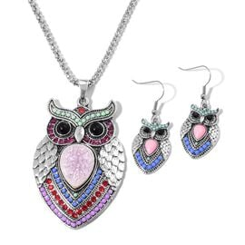 Simulated Light Pink Sapphire, Green, Blue and Purple Colour Gemstone and Black, Red and White Austrian Crystal Owl Pendant With Chain (Size 28) and Hook Earrings in Silver Tone