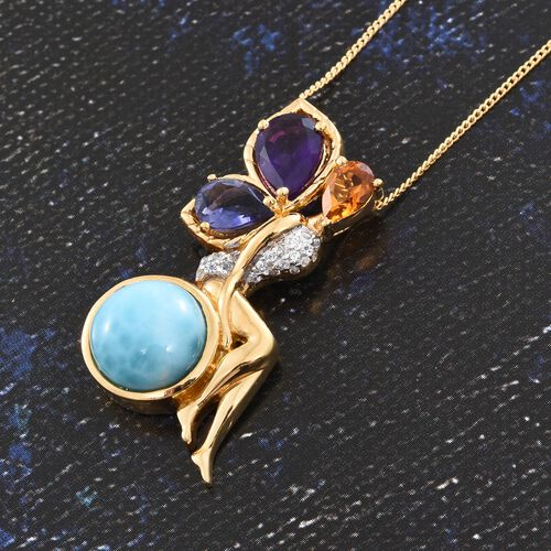 GP Larimar (Rnd 4.75 Ct), Lusaka Amethyst, Iolite, Citrine, Natural Cambodian Zircon and Kanchanaburi Blue Sapphire Pendant with Chain in 14K Gold Overlay Sterling Silver 6.750 Ct.