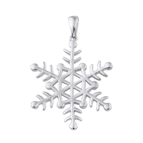 Platinum Overlay Sterling Silver Snowflake Pendant, Silver wt 5.00 Gms.