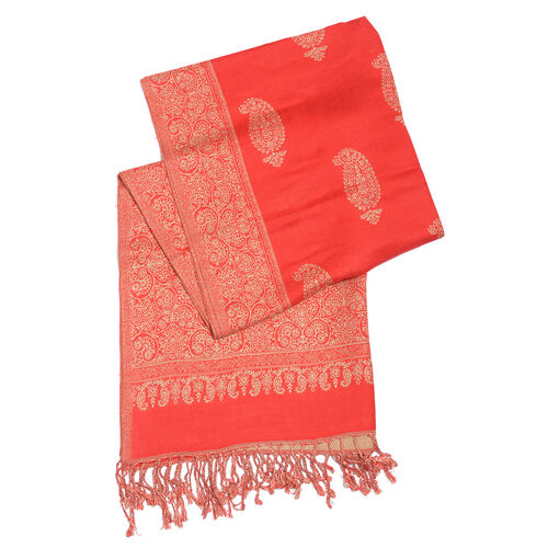 Red and Beige Colour Paisley Pattern Reversible Jacquard Scarf with Tassels (Size 180X70 Cm)