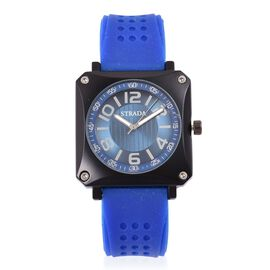STRADA Japanese Movement Sunshine Dial Watch in Black Tone with Stainless Steel Back and Blue Silicone Strap