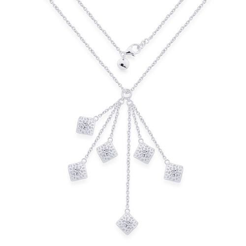 RACHEL GALLEY Sterling Silver Memento Diamond Cluster Necklace (Size 18), Silver wt 12.83 Gms.