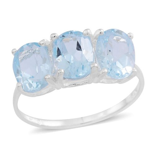 Sky Blue Topaz (Ovl) Trilogy Ring in Sterling Silver 4.000 Ct.