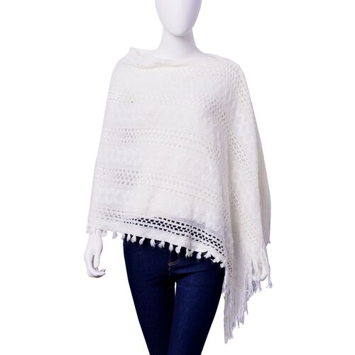Designer Inspired White Colour Poncho with Tassel (Free Size)