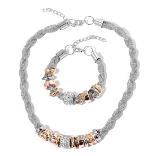 AAA White Austrian Crystal Multi Size Metal Rings Adorned Twisted Mesh Necklace (Size 18 with 2 inch Extender) and Bracelet (Size 8 with 2 inch Extender) in Tricolour Tone