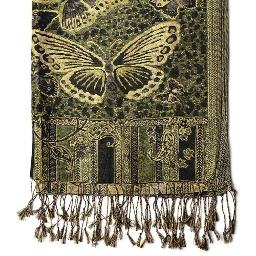 New Season-Gold and Multi Colour Butterfly Pattern Green Colour Scarf with Tassels (Size 175x68 Cm)