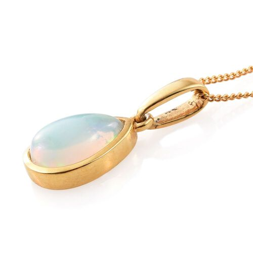 AA Ethiopian Welo Opal (Pear) Solitaire Pendant With Chain (Size 18) in 14K Gold Overlay Sterling Silver 1.250 Ct.