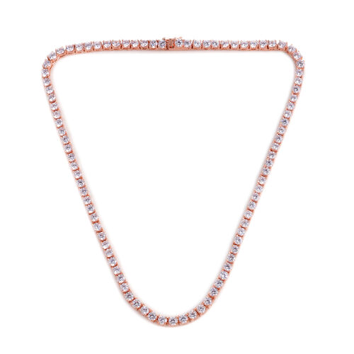 Close Out Deal AAA Simulated Diamond (Rnd) Necklace (Size 17) in Rose Gold Bond