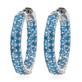 Malgache Neon Apatite (Rnd) Hoop Earrings (with Clasp) in Black Rhodium Plated Sterling Silver 5.396 Ct. Silver wt 11.40 Gms.
