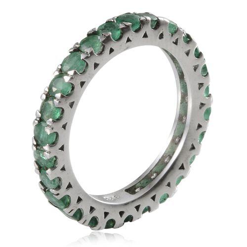 Kagem Zambian Emerald (Rnd) Full Eternity Ring in Platinum Overlay Sterling Silver 2.250 Ct.