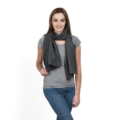 Grey Colour Checks Pattern Designer Muffler Scarf (Size 170x35 Cm)