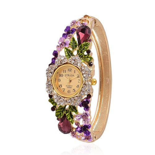 STRADA Japanese Movement Golden Sunshine Dial with Simulated Amethyst, Pink and White Austrian Crystal Studded Floral Enameled Water Resistant Bangle Watch in Yellow Gold Tone with Stainless Steel