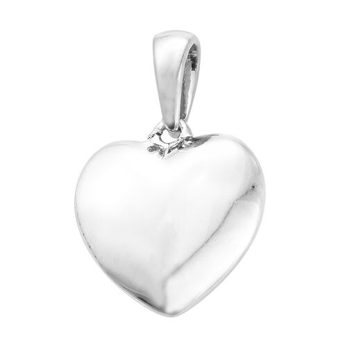 Silver Heart Pendant in Platinum Overlay, Silver wt 2.19gms