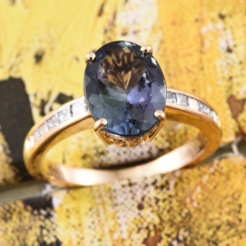 ILIANA 18K Yellow  Gold Rare AAA Peacock Tanzanite (Ovl 3.40 Ct), Diamond (SI G-H) Ring 3.900 Ct.