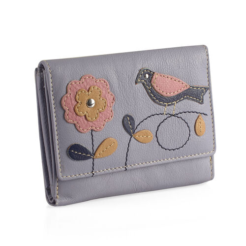Designer Inspired -  100% Genuine Leather RFID Blocker Flower and Bird Pattern Light Blue Colour Wallet with Multiple Card Slots (Size 12X10X3 Cm)