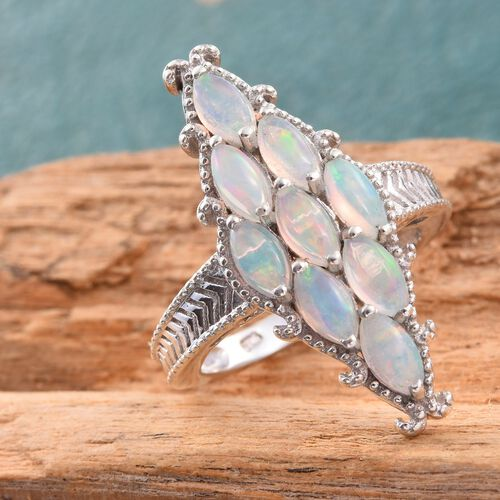 Ethiopian Welo Opal (Mrq) Ring in Platinum Overlay Sterling Silver 1.500 Ct.