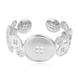 LucyQ Button Bangle (Size 7.25) in Rhodium Plated Sterling Silver 63.50 Gms.