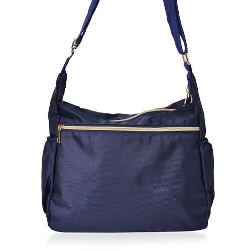 Designer Inspired- Navy Colour Multi Pocket Waterproof Crossbody Bag with Adjustable Shoulder Strap (Size 31X22X11 Cm)