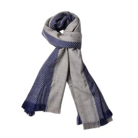New Season-Dark Blue and Grey Colour Stripes Pattern 3 Way Wearable Scarf with Fringes (Size 200X75 Cm)
