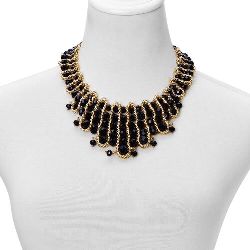 Simulated Black Spinel Necklace (Size 18 with 2 inch Extender) in Yellow Gold Tone