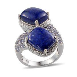 Lapis Lazuli (Cush), Tanzanite and Diamond Crossover Ring in Platinum Overlay Sterling Silver 13.170 Ct.