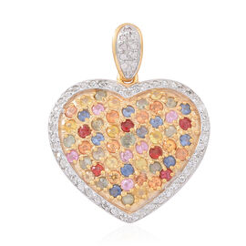 Rainbow Sapphire (Rnd), Natural Cambodian Zircon Heart Pendant in 14K Gold Overlay Sterling Silver 3.500 Ct. No of Stones 100