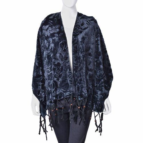 Designer Inspired - Black Colour Rose Pattern Velvet Wrap with Wooden Beads Adorned Tassels (Size 160X50 Cm)