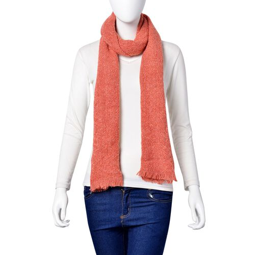 Red Colour Knitted Scarf with Fringes (Size 190X55 Cm)
