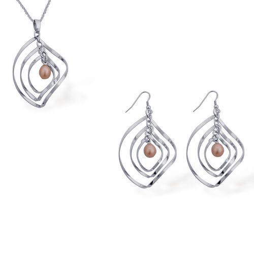 Freshwater Peach Pearl Pendant With Chain and Hook Earrings in Silver Tone