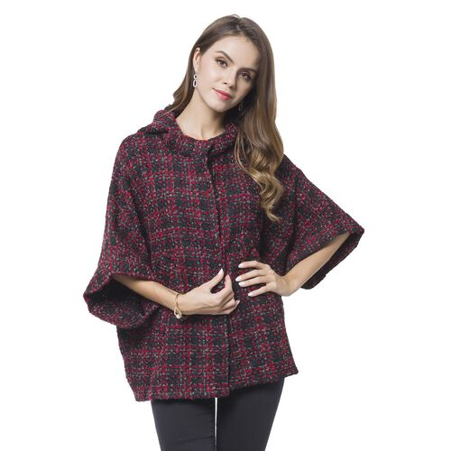 Designer Inspired -Wine Red, Black and Grey Colour Checks Pattern Cape (Size 75X60 Cm)