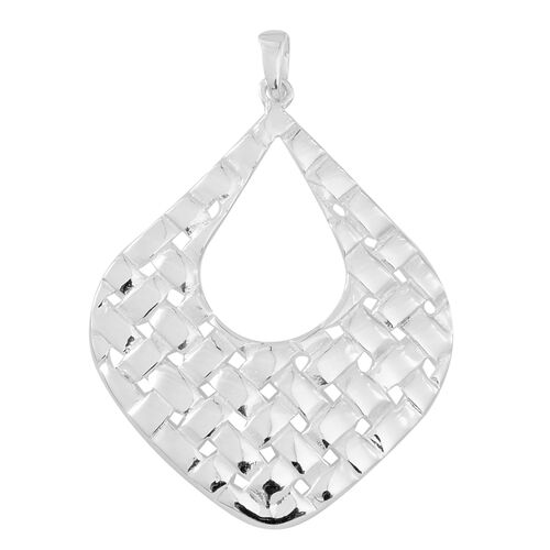 Thai Sterling Silver Weave Flat Drop Pendant, Silver wt 4.16 Gms.