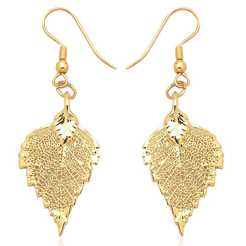 Real Birch Leaf Hook Earrings Dipped in 24K Yellow Gold