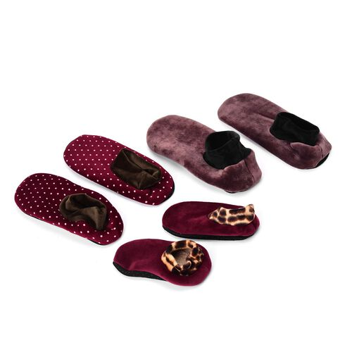 New Season-Set of 3 - Burgundy and Brown Dotted Print 100% Polyester Fleece Sherpa Set  Bootie Socks (Size one for all)