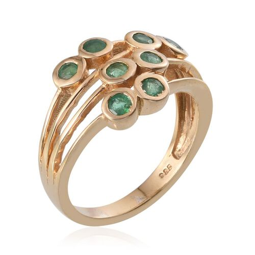 Kagem Zambian Emerald (Rnd) Ring in 14K Gold Overlay Sterling Silver 1.000 Ct.