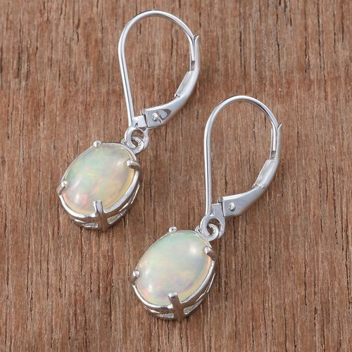ILIANA 18K White Gold 2.50 Carat AAA Ethiopian Welo Opal Lever Back Earrings