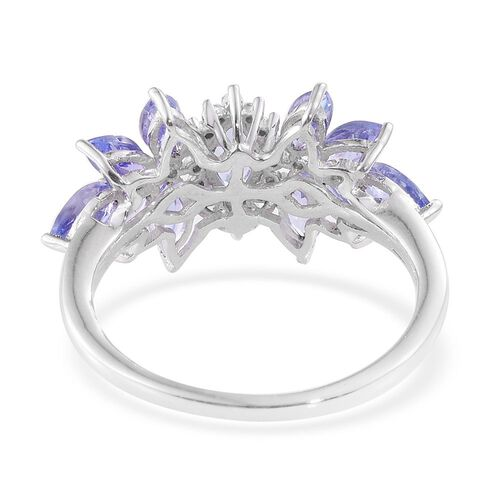 Tanzanite (Mrq), Diamond Ring in Platinum Overlay Sterling Silver 2.000 Ct.