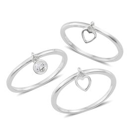 Set of 3 J Francis - Sterling Silver (Rnd) Heart and Round Charm Ring Made with SWAROVSKI ZIRCONIA, Silver wt 3.54 Gms.