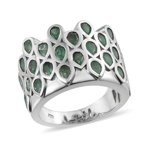 Kagem Zambian Emerald (Pear) Ring in Platinum Overlay Sterling Silver 3.500 Ct.
