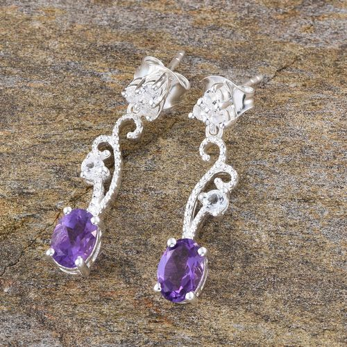 Amethyst (Ovl), White Topaz Earrings (with Push Back) in Sterling Silver 1.750 Ct.